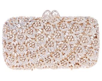 Gold Clutch, Crystal Clutch, Bridal Clutch, Wedding Clutch, Indian Clutch, Prom Clutch, Evening Clutch Bag, Purse, Gift for Her, Bridal Bag