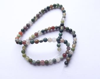 88 round beads smooth Indian agate 4 mm natural NYA-103