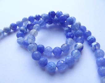 62 round faceted agate dyed Blue 6 mm CHEBAR 541