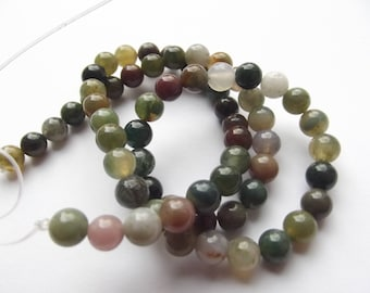 62 round beads smooth Indian agate natural 6 mm PIRATE-239