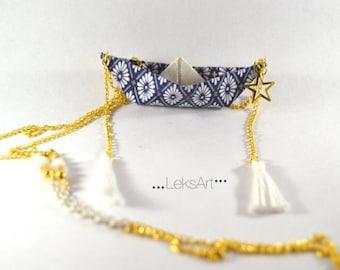 Origami boat Itsukushima 厳島 necklace