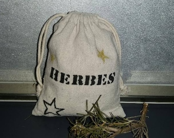 Herbs in organic cotton packaging bag. Leather bag. Herbs, spices, herbs, Rosemary, thyme. Organic kitchen.