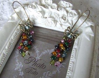 Earrings multi-color cluster glass beads