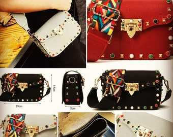 messenger handbag, Crossbody Bags, womens bags, coloured strap, multicolour, birthday gift