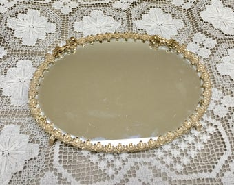 Sam Fink vintage gold tone vanity tray with mirror