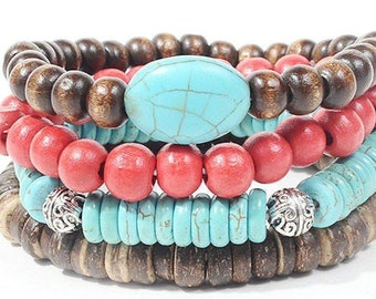 Turquoise, Cherry And Wood Bead Bracelet Set
