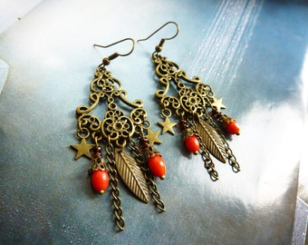 Earrings chandelier renaissance leaf, stars and pearls Red