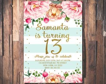 13. Geburtstags Einladung, Teen Geburtstagsfeier Einladen, Blumen Mädchen  Geburtstagsparty, Rosa Pfingstrose