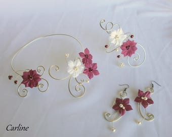 Set 3 PCs - Alix Victoria - bride Burgundy silk flowers
