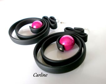 Fuchsia and black earrings