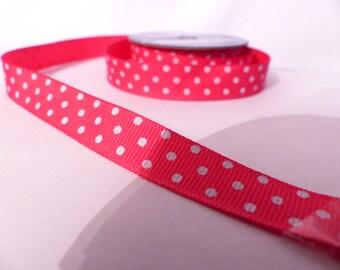 Ribbon coarse multifunction pink polka dots