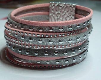 Pink and grey suede Cuff Bracelet