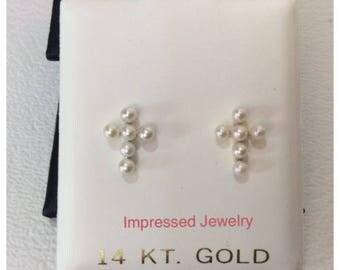 14K Yellow/White Real Gold Fresh Water Pearl Cross Screw Back Stud Earrings