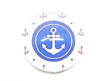 2 sea glass, anchor white 20mm cabochon