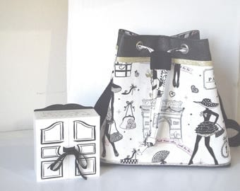 "Bucket bag / purse faux leather fabric and black/white cotton ""little black dress"""