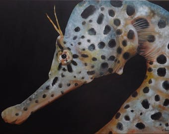 Painting in acrylic paint 'Seahorse', size 50 x 70 cm