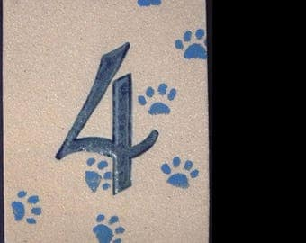 Door number '4' cat paws stoneware