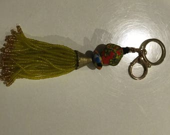 African Beaded Key Chain -  Natural African earth stones/ glass beads
