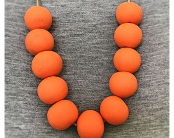 Burnt Orange Polymer Clay Necklace