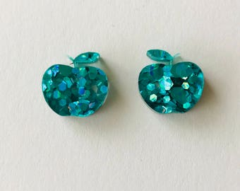 NEW NEW NEW! 15mm Peacock Green Lux Glitter Apple Stud Earrings