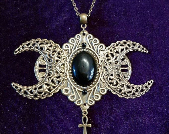 Hecate Necklace with Onyx - hecate baphomet vampire victorian ankh moon onyx witch gothic