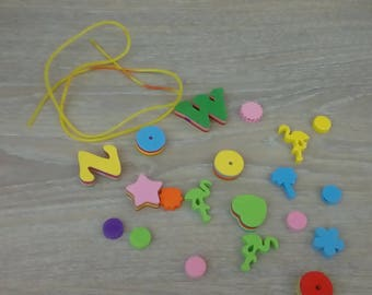 Set of 20 foam and wood beads number 2
