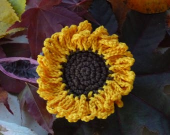 Sunflower - cotton crochet applique