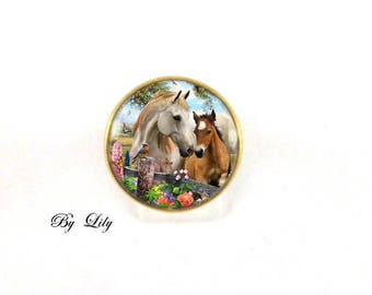 "Ring ""Mare and foal"" retro image cabochon!"