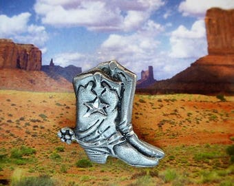lapel pin badges country cowboy boots western made in USA with metal silver