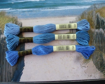 3 shades of blue cotton skeins n 3760 798, 334 for bracelets or embroidery skein for creations