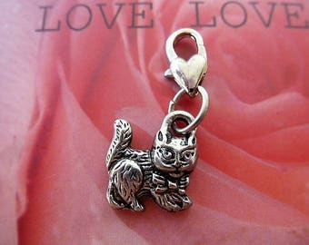 charm charm clasp mouqueton heart Tibetan silver Kitty