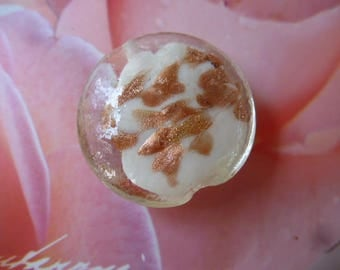 lampwork bead big 28 mm heart white and copper disc