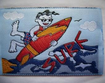 SURFING patch 470 patch applique sports humor for textile customization 7.5 cm x 5 cm