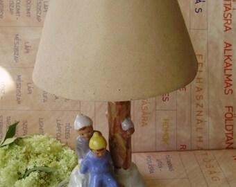 Vintage Hungarian desk lamp,ceramic lamp,retro lamp,children on sled,working,Mid Century Vintage