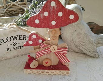 """Natural wood and red mushroom decorated """"Couture spirit"""""""