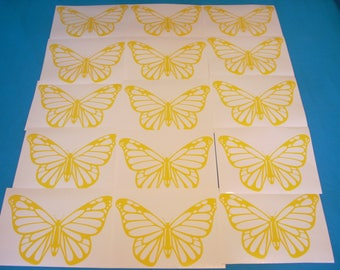 Set of 15 Yellow butterflies for wall freeze - vinyl decal stickers