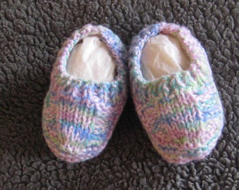 Hand knitted baby booties - multi-colored blue, pink and green