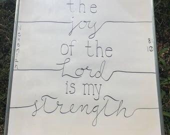 "Christian Wall Art- ""The Joy of the Lord is my Strength"" hand-painted wall art, minimalist modern wall decor, urban"