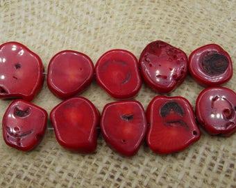 6 large red coral beads 20mm irregular