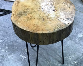 Custom Crafted Pine Stump Table