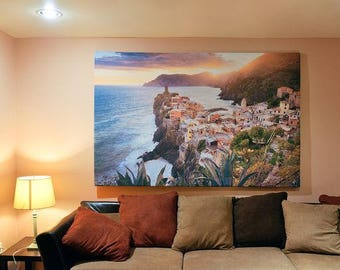 Large Canvas Print Wall Art-Vernazza sunset in Cinque Terre 79x51 inch Canvas Picture Stretched on Aluminum Frame …
