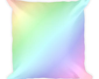 Square pillow // Pastel Rainbow pillow with stuffing // Throw pillow
