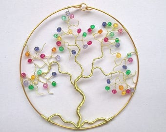 Handmade tree of life pendant birthstone jewelry-multicolor original idea mothers
