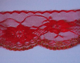 1 meter of pretty lace large flower red and Gold Ribbon 70mm