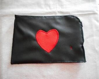 """Flat """"surprise"""" Pocket black red heart"""