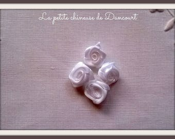 Bag of 10 small roses in white satin