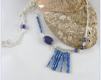 Long deep blue necklace, lapis lazuli and worked glass tube - 123 By MP Bertrand stones jewelry