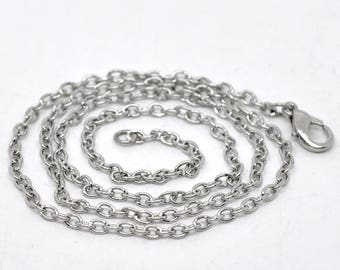 set of 3 necklaces silver chain, length 51 cm, oval mesh 3 x 2 mm