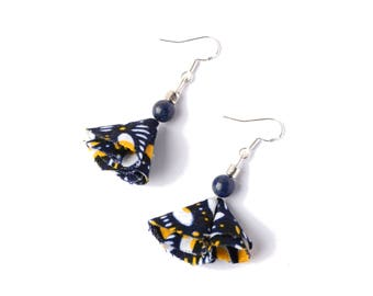 Earrings of African - Wax Inspiration, Lapis Lazuli & Sterling Silver 925