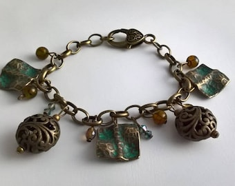 Bracelet color bronze antique & agate beads
